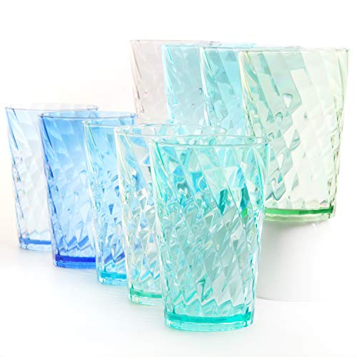 Youngever 9 Pack 20 Ounce Plastic Tumblers Cafe BreakResistant Drinking Glasses RestaurantQuality Shatterproof Beverage Tumblers 9 Coastal Colors