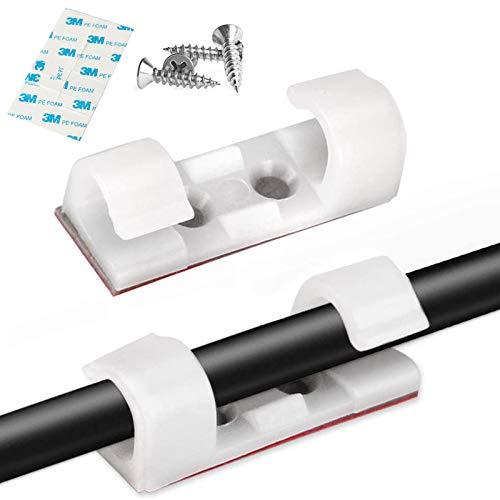 IYOYI 24 Stück Wand-Kabelklemmen, Kabel-Clips mit Kleber und 48 Stück M3 Schrauben, selbstklebend, Kabel-Clip, Halterung für die Organisation von TV/PC/USB-Kabel (weiß)