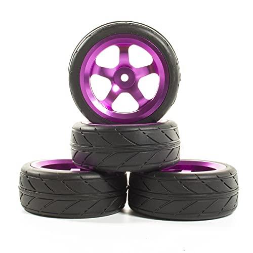 (H) llantas de barras 4 unids RC On-Road Car 5 habló 64 mm Neumáticos Ruedas Hub RIM para 1:10 RC HPI SAKURA TT01 0 0 D4 Coche a la deriva Ruedas y neumáticos hexagonales de 17 mm. ( Color : Purple )