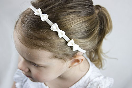 Doré Faisceau Flower Girl Bandeau – Trois Petits nœuds en satin ivoire faite à la main Bandeau – Bébé au Bandeau pour adulte