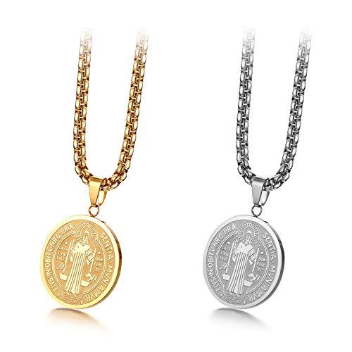 JewelryWe - Collar con Colgante de Medalla Redonda Ovalada, con Cruz de San Benito y Cadena Ajustable, de Acero LNOX, Joya Cristiana, en Caja de Regalo, Color Plateado y Dorado