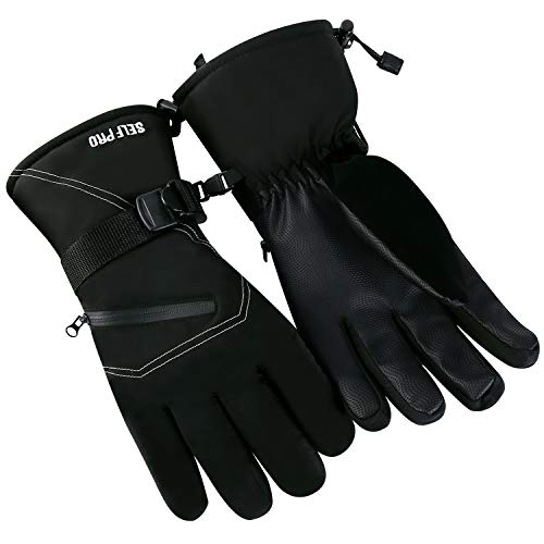 Self Pro 3M Thinsulate Waterproof Touch Screen Gauntlet Winter Windproof Thermal Gloves Men Women Skiing Snowboarding (Improved Model - Large - Black)