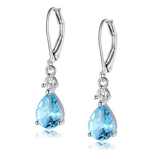 Ohrringe Silber 925 Damen Blau Topas Hänge Nickelfrei Ohrhänger Schmuck Mode Sicherheit für Mutter tochter