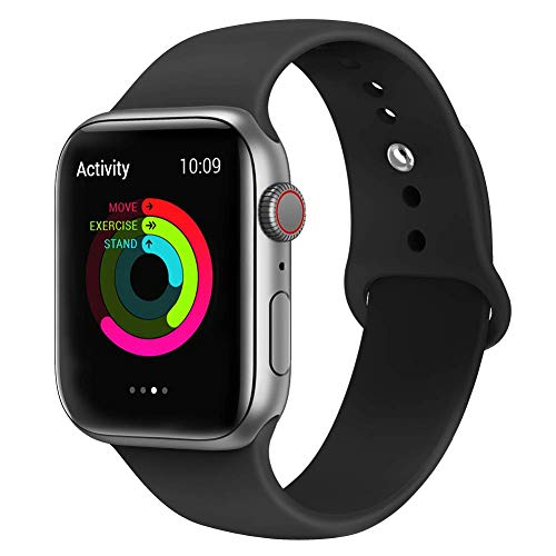 VIKATech Correa de Repuesto Compatible con Apple Watch de 44 mm 42 mm, Correa de Silicona Suave de Repuesto para iWatch Series 4/3/2/1, M/L, Black
