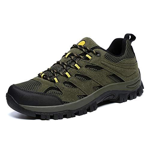 Zapatillas de Hombre Trekking Senderismo para Transpirable Camping Antideslizantes Zapatos de Deporte Caminar Trabajo Trail Running Sneaker Verde EU46