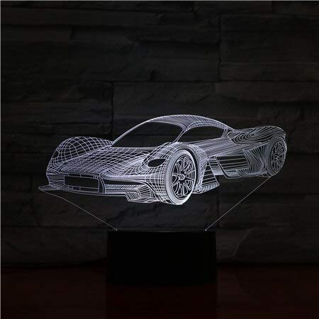 Sports Car Acrylic USB Cable Support Boys Hobby 3D LED Night Light Table Lamp Bedside Decoration Kids Gift