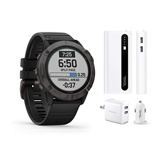 Garmin Fenix 6X Pro Solar Titanium Carbon Gray DLC with Black Band, Premium Multisport GPS Watch (010-02157-20) and Texel 10,000mAh Portable Battery Pack, Wall and Car Charger Bundle