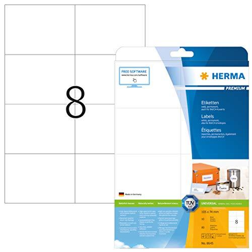 HERMA 8645 Universal Etiketten DIN A4 groß (105 x 74 mm, 10 Blatt, Papier, matt) selbstklebend, bedruckbar, permanent haftende Adressaufkleber, 80 Klebeetiketten, weiß
