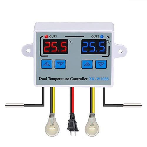 Lechnical Regolatore di temperatura, doppio termostato digitale di temperatura, termostato di uscita a due relè per incubatore di riscaldamento, raffreddamento XK-W1088 AC110-220V