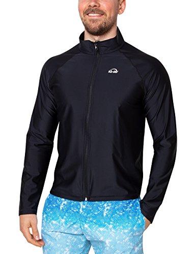 iQ-UV Herren 300 Reissverschluss, Regular geschnitten, Langarm, UV-Schutz Jacke, Black, L