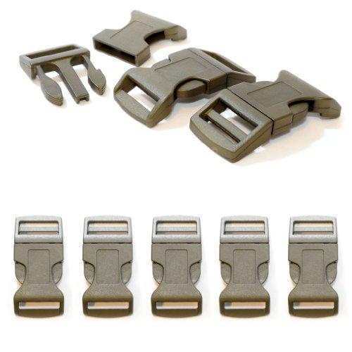 Cierre de clic de plástico en juego de 5 unidades, cierre de clip/cierre de clip para pulseras de paracord, collares de perros, mochila, color: verde camuflaje