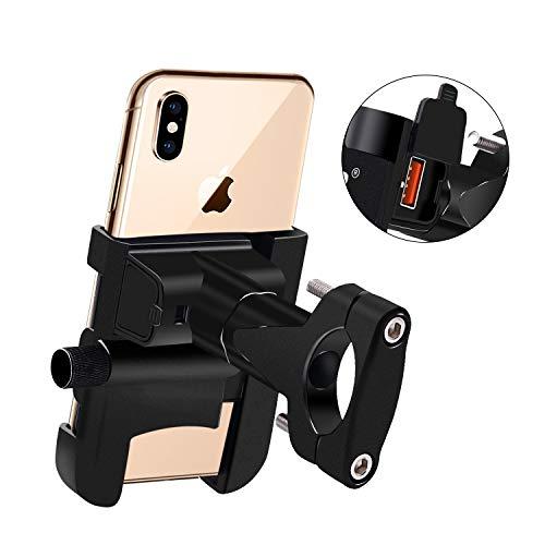 FISHOAKY Porta Telefono Moto, USB QC3.0 Supporto Cellulare Bici Moto, Stand Telefono Alluminio con Caricatore USB Quick Charge 3.0 per 4-6,5 Pollici Smartphone iPhone Samsung Huawei