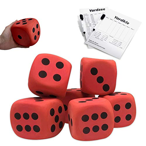SPORT BEATS 4'' Jumbo Foam Dice Set of 6 Yard Outdoor Games for Adults and Family Lawn Games Large Backyard Giant Yard Dice - Includes Elegant Carry Bag and Yardzee Yardkle Rules