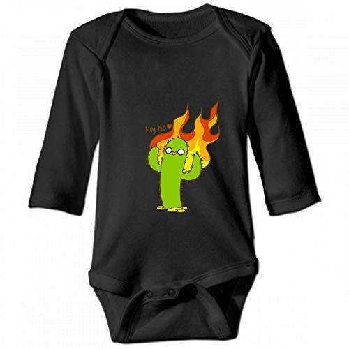 KioHp Hug Cactus and Fire Unisex baby ronde hals lange mouwen body, modieus baby klimpak zwart