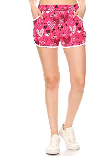 Leggings Depot RSB-S678W-S Pink Love Short Pants w/Pockets, Small