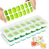 Ice Cube Trays 3 Packs, LivingAid Silicone Ice Cube Tray with Lid Super Easy Release Ice Cube Molds...