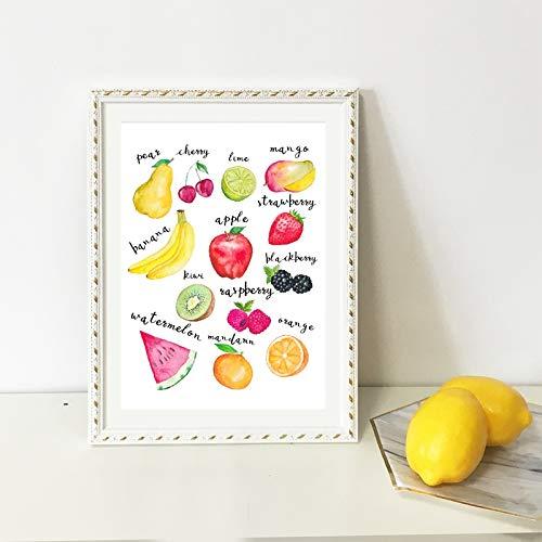 zgwxp77 Leinwandbild, modular, für Lebensmittel, Aquarell, Obst, Küche, Wandkunst, Essen, Heimdekoration, a, 30x42cm No Frame