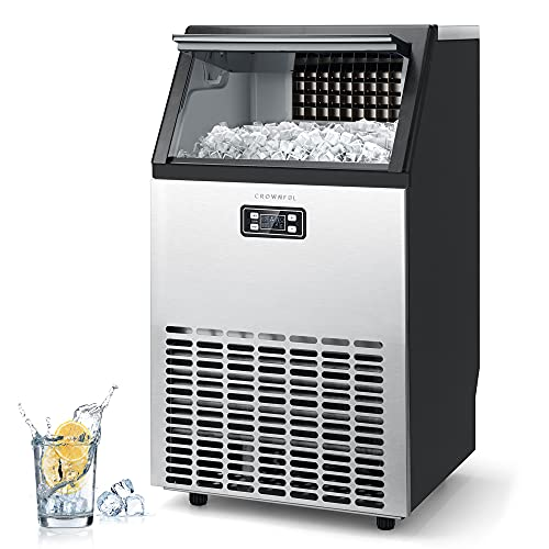 CROWNFUL Commercial Ice Maker 100Lbs/24H, Stainless Steel Ice Machine with 33Lbs Ice Storage Capacity, Free-Standing Under Counter ice Maker, Ideal for Home, Office, Restaurant, Bar, Coffee Shop