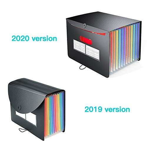 Accordian File Organizer/Expanding File Folder,Rainbow Portable/Desktop A4 Letter Size Filing Box,13-Pocket Plastic Accordion Bill Paper Document Organizer Wallet Briefcase,2 Colored A to Z/A-Z Tabs Photo #3