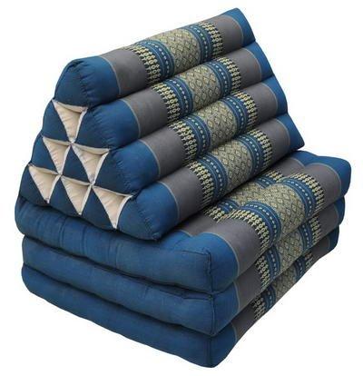 Wilai Kapok Thaikissen, Yogakissen, Massagekissen, Tantrakissen, Sitzkissen, Strandkissen, Meditationskissen - Blau/Grau (Dreieck mit DREI Auflagen 52x50x45)