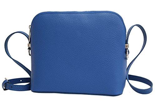 AMBRA Moda Italienische Ledertasche Damen Handtasche Umhängetasche Schultertasche Leder Tasche klein GL018 (Royalblau)