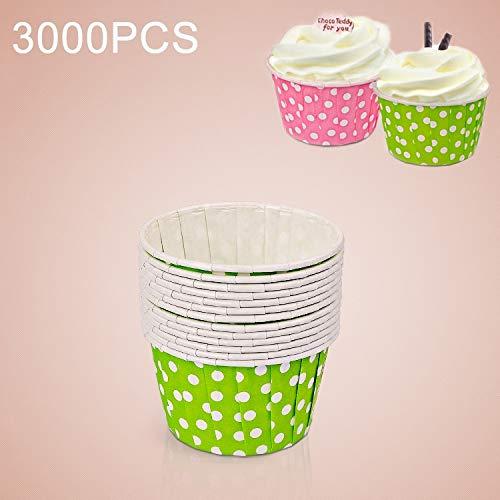 Keuken voedsel gereedschap YangJ 3000 stuks puntpatroon ronde laminering cake mok muffin gevallen chocolade cupcake liner bakken mok, grootte: 6,8 x 5 x 3,9 cm (roze) groen