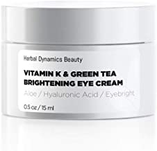 HD Beauty Vitamin K & Green Tea Brightening Eye Cream for Undereye Circles, Puffiness and Fine Lines with Hyaluronic Acid and Organic Aloe Vera, Men & Women