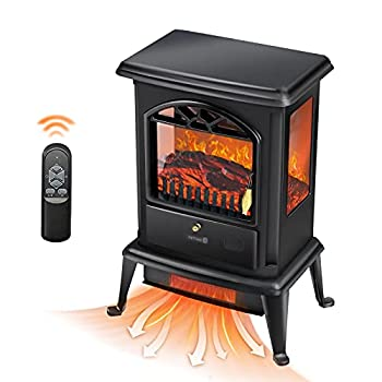 BEYOND BREEZE Electric Fireplace Heater,23   Freestanding Infrared Stove Heater with Realistic 3D Flame Effect,Portable Indoor Space Heater with Overheating Safety System,1500W