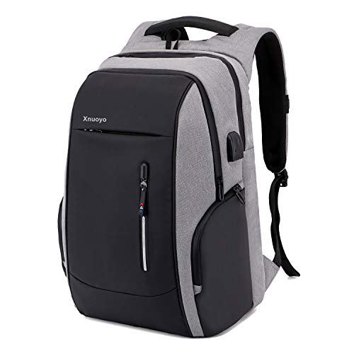 Xnuoyo Travel Laptop Backpack, 17.3 Inch Business Anti Theft Lock Slim Durable Laptops Backpack with USB Charging Port Headphone Hole, Water Resistant College School Computer Bag for Women Men, Grey