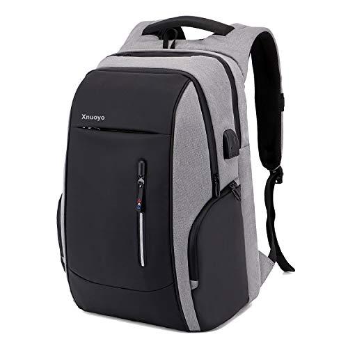 17.3 Zoll Anti-Diebstahl Laptop Rucksäcke, Handtasche Herren Damen Schulrucksack mit Schloss, USB Anschluss und Headphone Port, Schultertasche mit Croßem Laptopfach und Zubehörfächer (Grau)