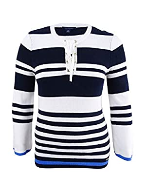 Tommy Hilfiger Cotton Lace-up Sweater (Sky Captain Multi, XL) from