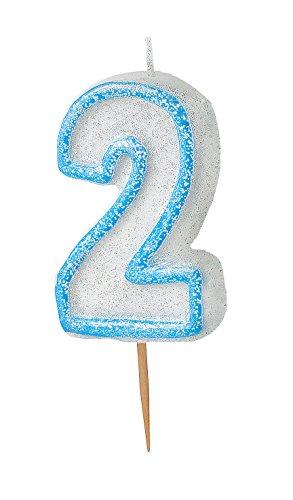 Unique Party 37922 - Glitz Blue Number 2 Candle