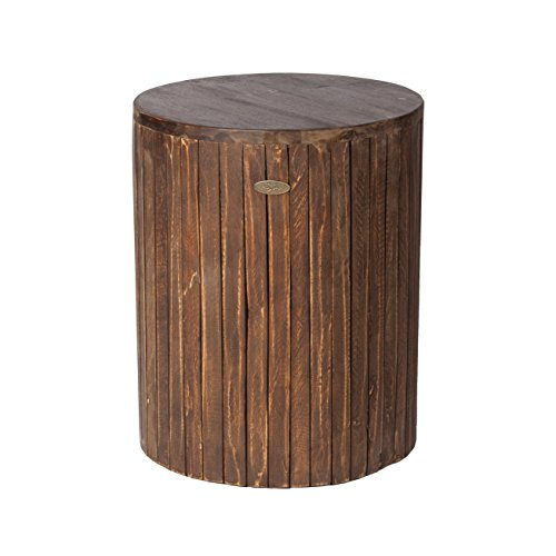 Patio Sense Michael Round Indoor Outdoor Garden Stool Table | Reclaimed Wood | Rustic Brown Design | Ideal for Entertaining, Gardening, and Decor | For Porch,Garden, Lawn, Backyard, Balcony, Apartment