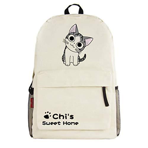 Cosstars Chi's Sweet Home Gato Anime Backpack Mochila Infantil Casual Daypack Bolsa de Viaje Niña Niño Beige /3