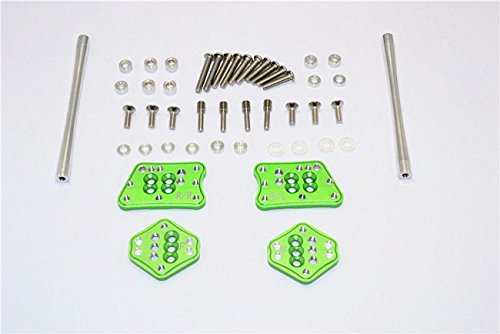 Axial SCX10 II Upgrade Pièces (AX90046, AX90047) Aluminium Front & Rear Adjustable Mount for Original Shock Tower - 1 Set Green