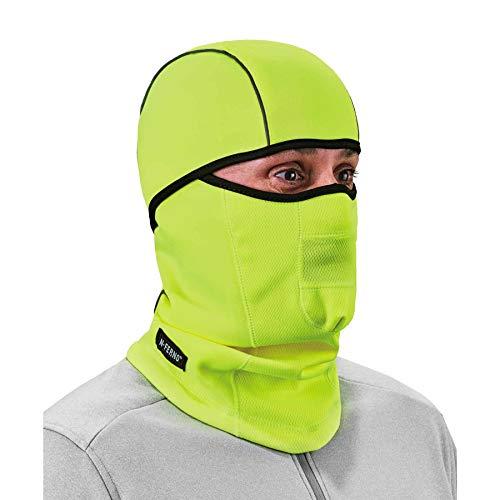 Ergodyne N-Ferno 6823 Balaclava Ski Mask, Wind-Resistant Face Mask, Hinged Design to Wear as Neck Gaiter, High Visibility Lime