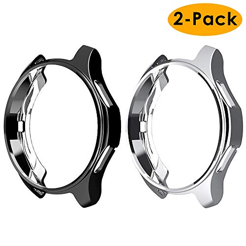 EZCO 2-Pack Case Compatible with Samsung Galaxy Watch 46mm / Gear S3 Case, Soft TPU Plated Case Protector Bumper for Gear S3 Frontier/Classic Galaxy Watch 46mm SM-R800 Smartwatch