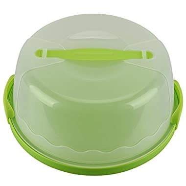 HelloCupcake Portable Cake & Cupcake Carrier / Storage Container - 11.25  Diameter, Translucent Dome - Great for Transporting Cakes, Cupcakes, Cookies, Pies, or Other Desserts (Green)