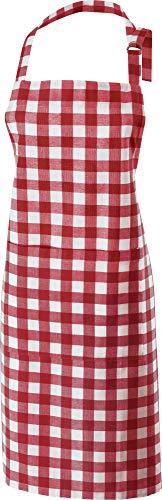 REDBEST Koch-Schürze, Küchenschürze karo rot, 100% Baumwolle - verstellbare Halsschlaufe, große aufgesetzte Tasche, Robustes Gewebe - Größe 75x90 cm