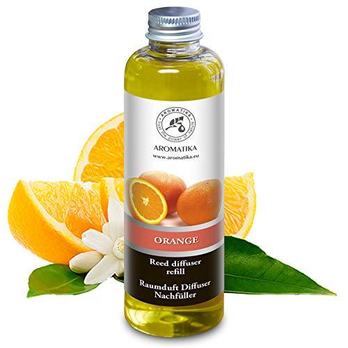 Navulling Sinaasappel 200ml met Puur en Natuurlijke Essentiële Sinaasappel Olie - Intensief & Langdurig Aroma Natuurlijk voon Aromatherapie - Diffuser - Luchtverfrisser - Huisparfum - Geurolie - zonder Alcohol