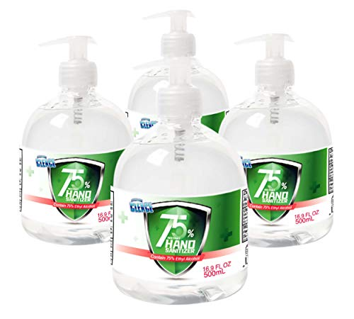Cleace Advanced 75% Alcohol Sanitizer Gel, 4 large bottles, 16.9 oz each (67.6 oz total), Meets WHO and CDC Guidelines
