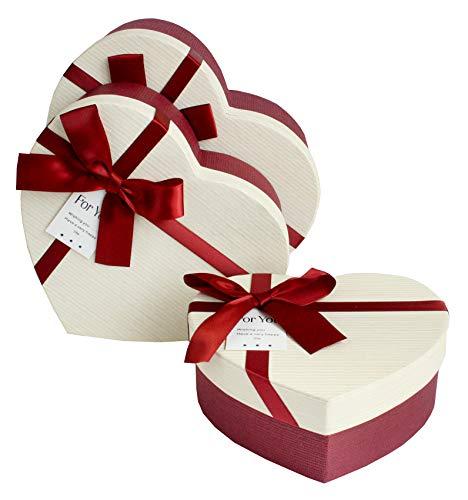 Emartbuy Set von 3 Starre Geschenkbox, Burgandy Box mit Gestreift Cremefarben Deckel und Schleife