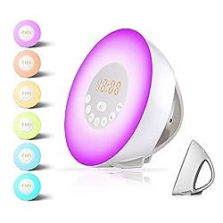 Alarm Clock,Wake up Light for Kids,Best Sunrise FM Radio Alarm Clocks with USB Charger,Sunlight and Sunset Simulator Sleep Night Light with 6 Nature Sounds Digital Alarm Clock for Heavy Sleepers