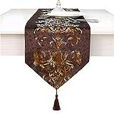 Camino de mesa de lujo con bordado de flores, marrón, 33 * 210cm