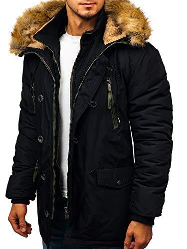 BOLF Herren Winterjacke Parka Kapuze Sport Casual Style Reißverschluss Warm Gefüttert Casual Style J.Boyz 1045 Schwarz M [4D4]