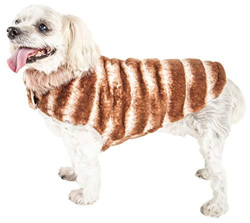 PetLife Luxe Tira-Poochoo Tiramisu - Abrigo para Perro, diseño de visón, Talla S, Color marrón