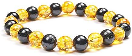 REBUY Positivity and Protection Bracelet, Citrine & Black Tourmaline, Energy Bracelet, Prosperity, Money, Reiki Jewelry