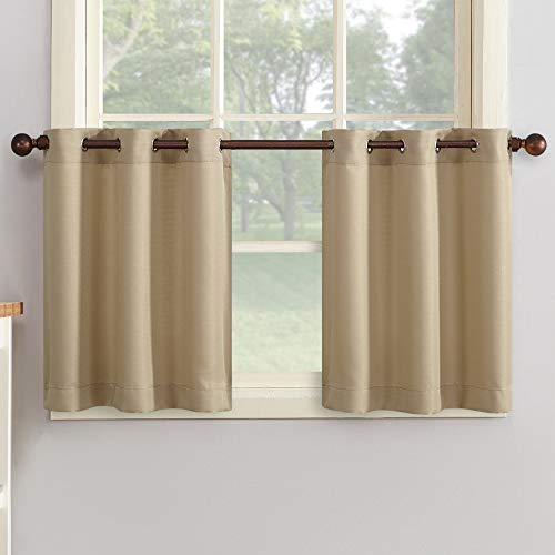 """No. 918 Montego Kitchen Curtains, 56"""" x 24"""" Tiers, Taupe"""