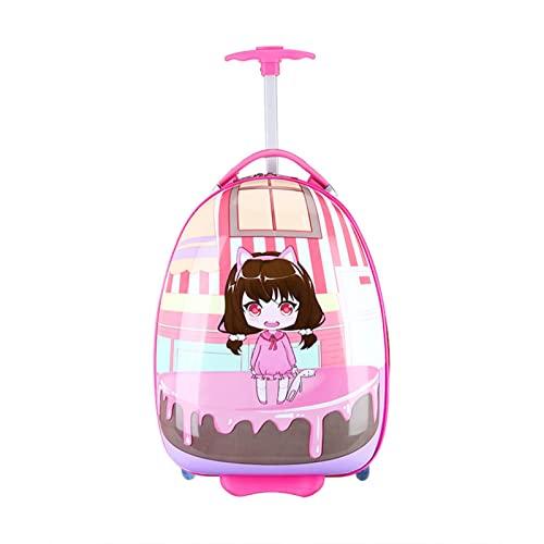 SHJKL Niños Travel Maleta, con Ruedas Suitcase De Anime De Dibujos Animados, Equipaje De Carrito de Estudiante niño niña,Cake Girl,16 Inches