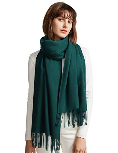MaaMgic Womens Large Soft Cashmere Feel Pashmina Shawls Wraps Light Scarf, Dark Green